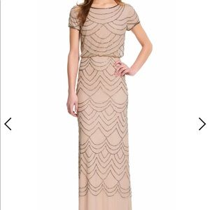 Adrianna Papell taupe/pink dress size 8